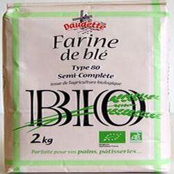 Farine de blé tendre semi-complète type 80 issue de l'agriculture biologique, DAUDETTE,  2kg