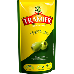 Olives vertes dénoyautées TRAMIER, sachet de 100g