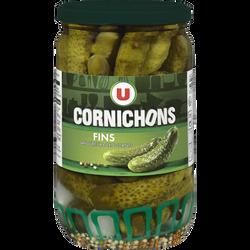 Cornichons fins pasteurisés au vinaigre U, bocal de 360g