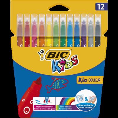 Feutres de coloriage BIC Kids Couleur, encre lavable, pack de 12