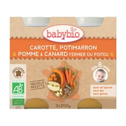 Pot Carotte Potimarron Pomme et Canard BABYBIO dès 8 mois 2x200g