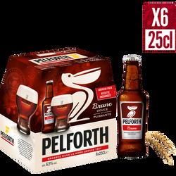Bière brune PELFORTH, 6,5°, 6 bouteilles de 25cl