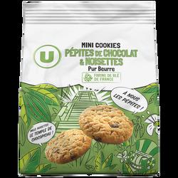 Mini cookies noisette/pépites de chocolat pur beurre U, 120g