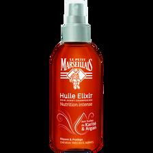 Huile Elixir avant shampooing au karité et argan LE PETIT MARSEILLAIS,spray de 150ml