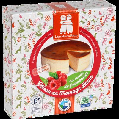 Gâteau au fromage blanc nature, avec coulis de framboise, LEGENDES DUPOITOU, 350g