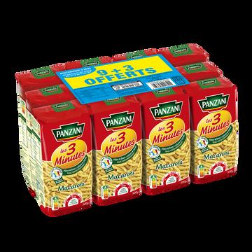 Panzani Pâtes Macaroni Cuisson Rapide Panzani, 9x500g + 3 Offerts