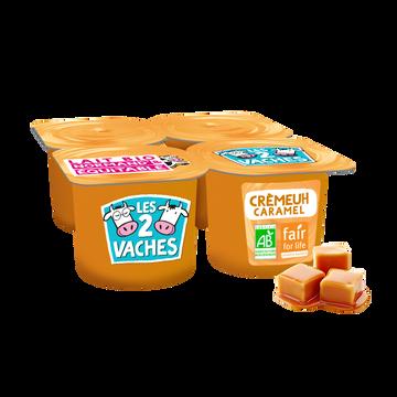 Les 2 vaches Crème Dessert Caramel Bio Les 2 Vaches, 4x95g