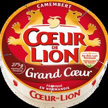Camembert grand coeur au lait pasteurisé COEUR DE LION, 21% de MG, boite de 275g