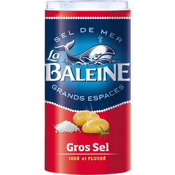 Gros sel de mer iodé et fluoré LA BALEINE, boîte verseuse de 500g