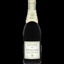 Vin rouge AOP Côtes du Rhône villages Croix des Alliances sans sulfites ajoutés bio U, bouteille de  75cl