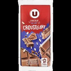 Tablette de chocolat au lait croustillant U, 2x100g