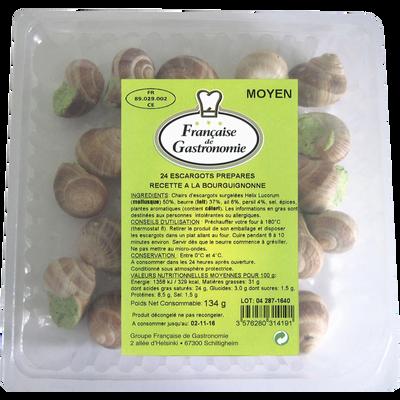 Escargots Helix Lucorum moyen préparés à la bourguignone FRANCAISE DEGASTRONOMIE, x24