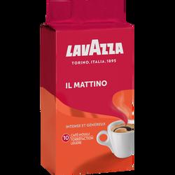 Café moulu torréfié à l'italienne il mattino LAVAZZA, paquet de 250g