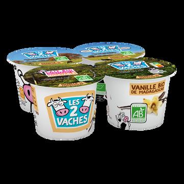 Les 2 vaches Yaourt Vanille Bio Brassé Les 2 Vaches, 4x115g