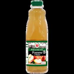 Pur jus de pomme d'Alsace fruits de chez nous U, bouteille en plastique de 1l