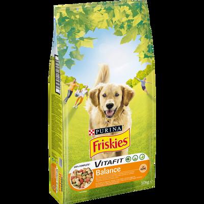 Croquettes Vitafit balance pour chien adulte au poulet et aux légumesajoutés FRISKIES, sac de 10kg
