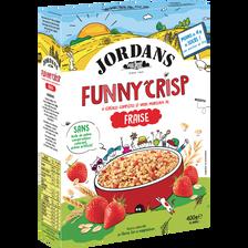 Céréales funny crisp avec morceaux de fraises lyophilisées arômes naturels JORDANS, 400g