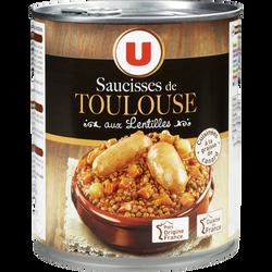 Saucisses de Toulouse aux lentilles U, 840g