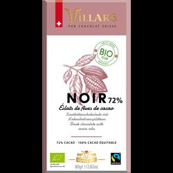 Tablette chocolat noir eclats feves de cacao bio VILLARS 80g