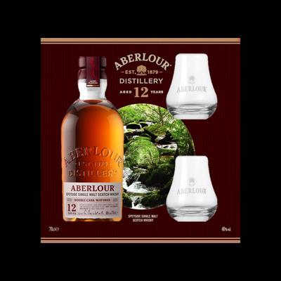 Scotch whisky  Double Cask 12ans ABERLOU ,40°, 70cl+coffret 2verres