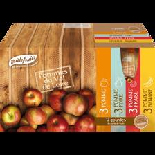 Purée pommes multifruits sans sucre ajoutés MILLEFRUITS, 12x90g