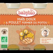 Pot maïs doux et poulet BABYBIO, dès 8 mois, 2x200g soit 400g
