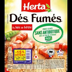 Dés de lardon fumés sans antibiotiques HERTA 2x75g +15% offert soit 172,5g