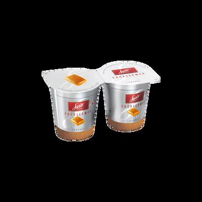 Yaourt à la crème sur préparation au caramel Excellence SWISS DELICE,2x125g