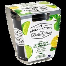 Sorbet plein fruit au citron et citron vert, LA MANUFACTURE DES BELLESGLACES, bac de 300g