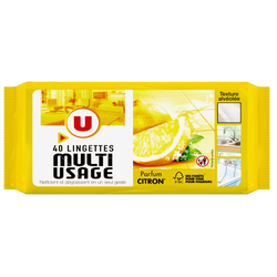 Lingettes multi-usages parfum citron U, x40