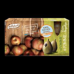 Purée de fruits pommes et pommes poires sans sucres ajoutés, MILLEFRUITS, 12 gourdes de 90g