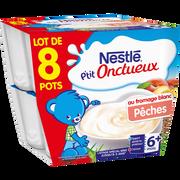 Nestlé P'tit Onctueux Au Fromage Blanc Et Pêche Nestlé, Dès 8 Mois, 8x100g