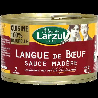 Langue de boeuf sauce madère MAISON LARZUL, boîte de 410g