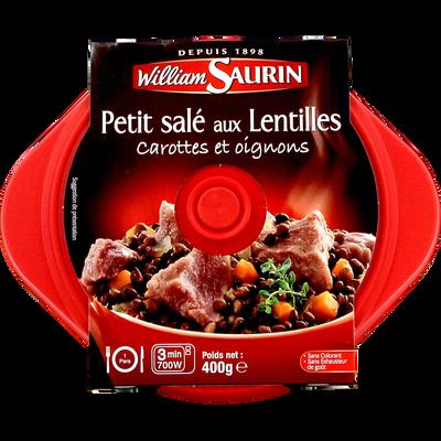 Cocottes petit salé aux lentilles carottes et oignons, barquette micro-ondable, WILLIAM SAURIN,  400g