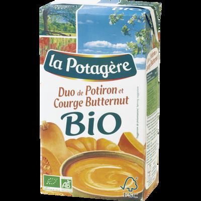 Soupe bio duo de potiron et courge butternut LA POTAGERE, 1 litre