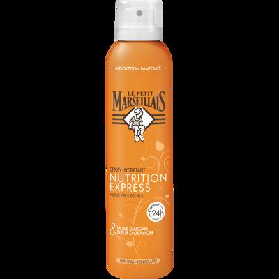 Spray nutrition express argan & fleur d'oranger peaux très sèches LE PETIT MARSEILLAIS, spray 200ml