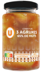 Confiture 3 agrumes 65% de fruits U, 300g