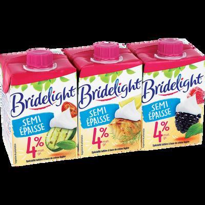 Spécialité laitière à base crème légère fluide UHT, 4%MG, BRIDELIGHT,3X 20CL