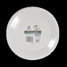 Assiettes en carton U MAISON, 23cm, blanc, 50 unités