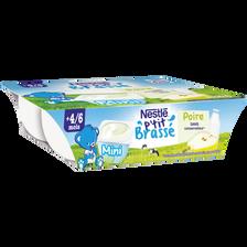 Dessert infantile poire P'tit Brassé NESTLE, dès 4/6 mois, 6x60g