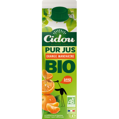 Pur jus orange mandarine BIO CIDOU, bouteille en verre de 1l