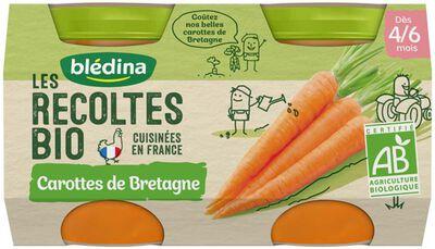 Petits pots bébé carottes bio de Bretagne dès 4/6 mois BLEDINA, les 2 pots de 130g