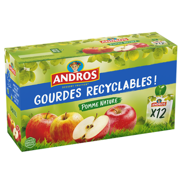 Andros Gourdes Pomme Nature Andros 12x90g