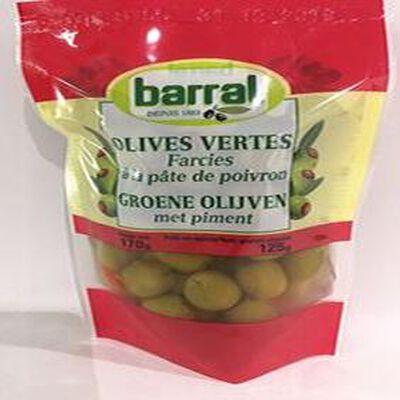 OLIVES VERTES Farcies à la pâte de poivron BARRAL
