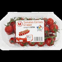 Tomate cerise en grappe, U, catégorie Extra, France, barquette de 320g