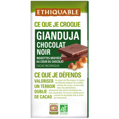 Chocolat noir gianduja nicaragua bio ETHIQUABLE, 100g