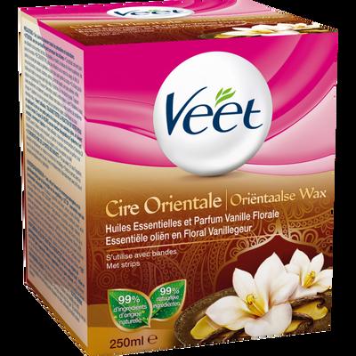 Cire orientale dépilatoire aux huiles essentielles parfum vanille VEET, pot de 250ml