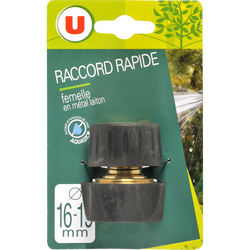 Raccord rapide femelle aquastop en laiton U, 16/19mm