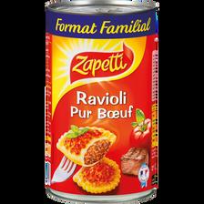 Ravioli pur boeuf (viande française) ZAPETTI, boîte de 1,2kg