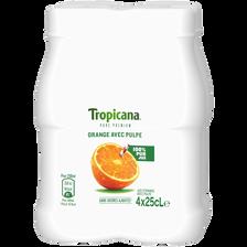 Pur jus d'orange avec pulpe Pure Premium TROPICANA, 4 bouteilles de 25cl